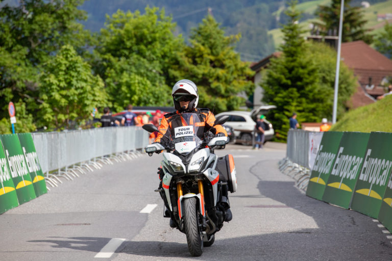 Flumserberg,,Switzerland,-,20.06.2019:,Swiss,Police,Motorcyle,During,Stage,6